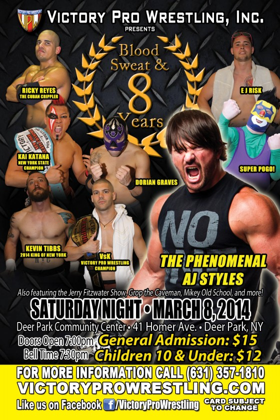 Blood Sweat and 8 Years, Saturday March 8, 2014 Deer Park, NY, featuring AJ Styles