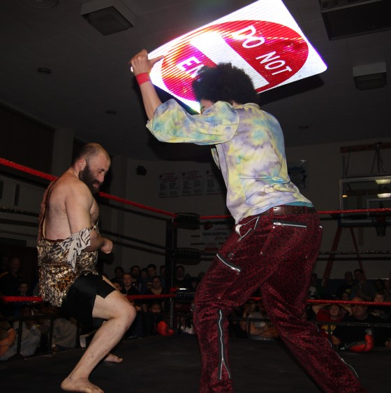 Jacob Hendrix attacks Grop the Caveman
