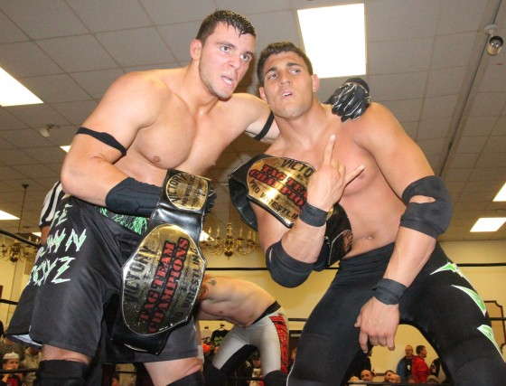 The Down Boyz after winning the VPW Tag Team Championships