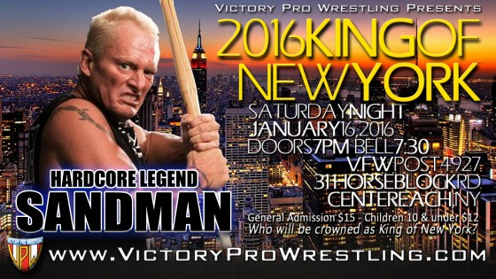 5 time ECW Heavyweight champion Sandman to perform at Victory Pro Wrestling's King of New York